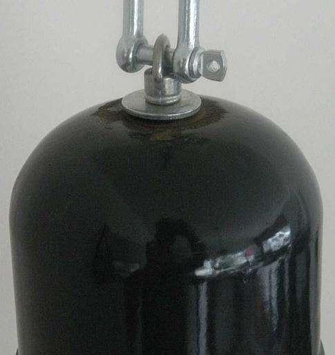 Geemailleerde blauwe hanglamp detail