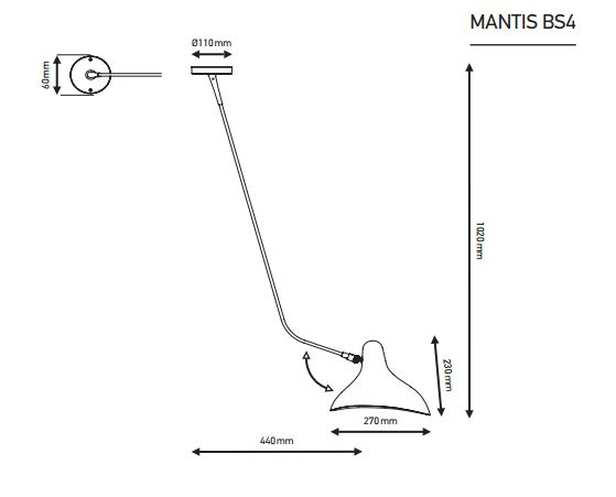 Mantis BS4 wand lamp specificatie