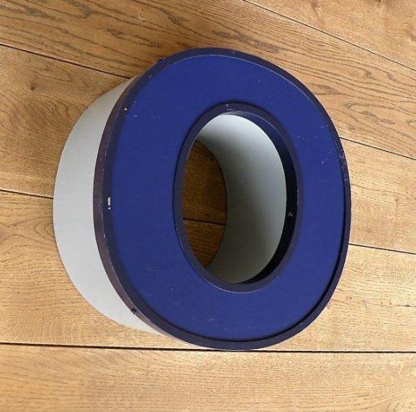 letterlamp blauw 0 front side