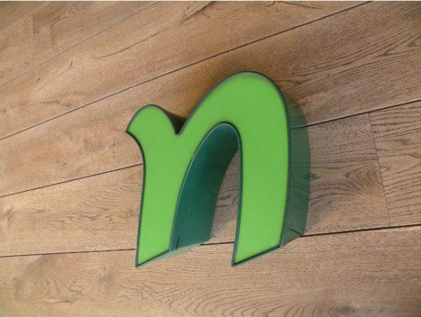 letterlamp groen n 3