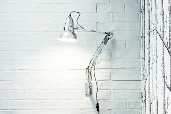 Original 1227 muur Lamp - Bright Chrome w BW Cable