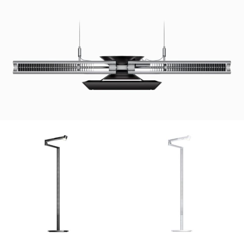 Dyson-cubeam-hanglamp-en-lightcyclemorph-vloerlamp-zwart-wit-zilver